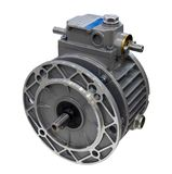 Electric motor with reduction. Gear isolated on white background. Image with local focusing stock images
