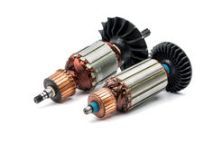 Electric motor rotor isolated. White background royalty free stock photo