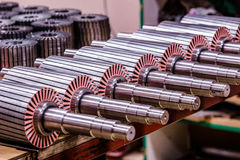 The electric motor rotor parts. Electric motor rotors and coppers stock images