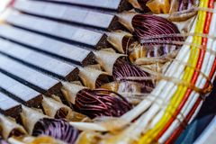 Electric motor stator with winding coil. View of inside of electric motor royalty free stock photos