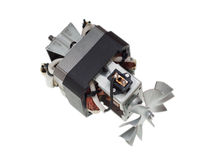 Electric motor of vacuum cleaner isolated on white. Background stock image