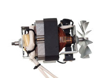 Electric motor of vacuum cleaner isolated on white. Background royalty free stock photo
