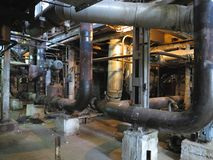 Electric motor water pump under repair at power plant Royalty Free Stock Photography
