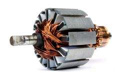 Electric motor on a white background. Electric motor isolated on a white background closeup royalty free stock photo
