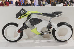 Electric motorcycle on display at EICMA 2014 in Milan, Italy Stock Images