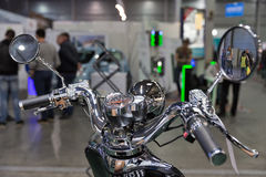 Electric motorcycle steering closeup on Kiev Plug-in Ukraine 2017 Exhibition. Stock Image