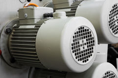 Electric motors. Powerful electric motors for modern industrial equipment Stock Image