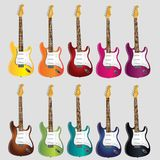 Electric music guitars for rock n roll music royalty free illustration