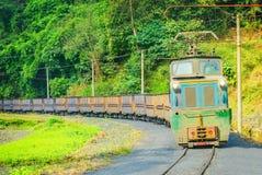 Electric narrow-gauge locomotive. Stock Image