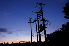 Electric network pillar with transformer Stock Photo