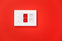 Electric and network sockets Royalty Free Stock Photography