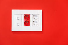 Electric and network sockets detail Stock Photos
