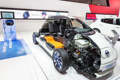 The Electric Nissan Leaf at the IAA 2015. FRANKFURT, GERMANY - SEP 22: Cross Section of the Nissan Leaf Electric Car at the IAA International Motor Show 2015 Stock Image
