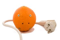 Electric orange. With a plug Royalty Free Stock Photos
