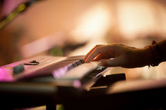 Electric organ on stage Royalty Free Stock Images