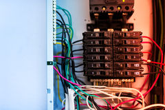 Electric outdoor fuse box in soft light Royalty Free Stock Photos