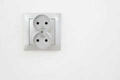 Electric outlet with clipping path. European electric socket on the wall with clipping path royalty free stock photo