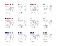 Electric outlet illustration. Different type power socket set,   icon illustration for different country plugs. Royalty Free Stock Photos