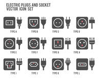Electric Outlet Illustration. Different Type Power Socket Set, Vector Isolated Icon Illustration For Different Country Plugs. Powe Royalty Free Stock Images