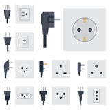 Electric outlet vector illustration energy socket electrical outlets plugs european appliance interior icon. Stock Photos