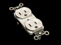 Electric Outlet Wall Socket Plug Receptacle. American standard 110 volt electric wall power outlet socket plug receptacle with ground and polarized electrical royalty free stock images