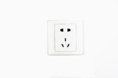 Electric Outlet Wall Socket Plug Receptacle. Chinese standard 220 volt electric wall power outlet socket plug receptacle with ground and polarized electrical stock photography