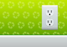 Electric outlet wallpaper. Electric outlet on green recycle symbol wallpaper Stock Photo