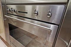 Electric oven detail. Modern stainless steel electric oven dial closeup Royalty Free Stock Image