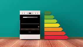 Electric oven and energy efficiency rating. 3d illustration stock illustration