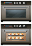 Electric oven with toasted bread Stock Photo