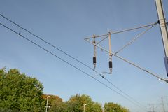 Electric overhead power cable for train. Electric overhead power cable for electric train royalty free stock photography