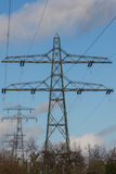 Electric overland power mast Stock Photos