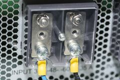 Electric panel with cables Electrical terminal in junction box. 