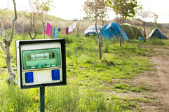 Electric panel in camping Stock Image