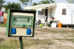 Electric panel in camping Stock Photo