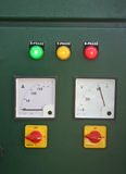 Electric panel and main switch board lights. Red green yellow switch board lights, pilot lamps and meters royalty free stock image