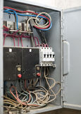 Electric panel with various wires Royalty Free Stock Images