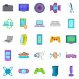 Electric parts icons set, cartoon style. Electric parts icons set. Cartoon set of 25 electric parts vector icons for web isolated on white background Royalty Free Stock Photos