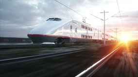 Electric passenger train. Very fast driving. journey and travel concept. Realistic 4k animation. Electric passenger train. Very fast driving. journey and travel stock video footage