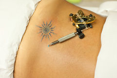 Electric pen for tattoo. Electric pen with tattoo just finished Stock Images