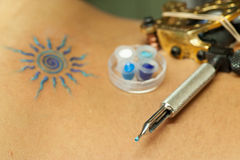 Electric pen for tattoo. Electric pen with tattoo just finished Stock Photos