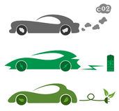 Electric and petrol automobiles Royalty Free Stock Photography