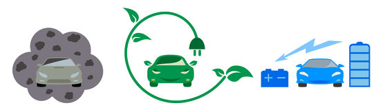 Electric and petrol automobiles. Illustration of electric and petrol automobiles Royalty Free Stock Photography