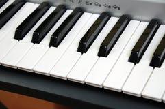 Electric piano keys. Angled electric piano keys close up Royalty Free Stock Photo