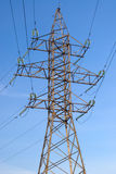 Electric pillar. High voltage electric pillar and blue sky Stock Photography