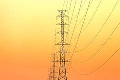Electric pillar on light of sunset Royalty Free Stock Photo