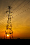Electric pillar at sunset Royalty Free Stock Photos