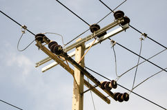 Electric pillar with transformer in the electric network Royalty Free Stock Photo