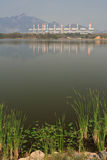 Electric plant and lake Stock Photo
