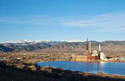 Electric Plant by a Lake in Colorado Stock Photos